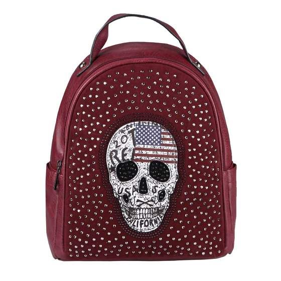 Photo of OBC ladies skull backpack bag rhinestones glitter city backpack shoulder bag handbag city backpack backpack daypack leather look Bordo 27x29x15
