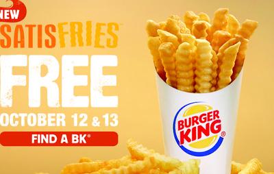 FREE Satisfries at Burger King (Valid 10/1210/13 ONLY