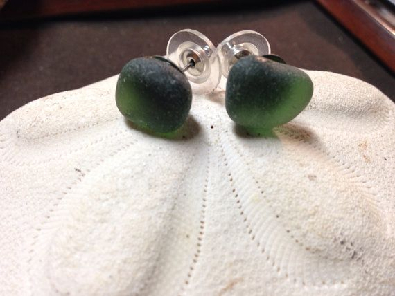Sea glass studs and ring  on Etsy, $18.00