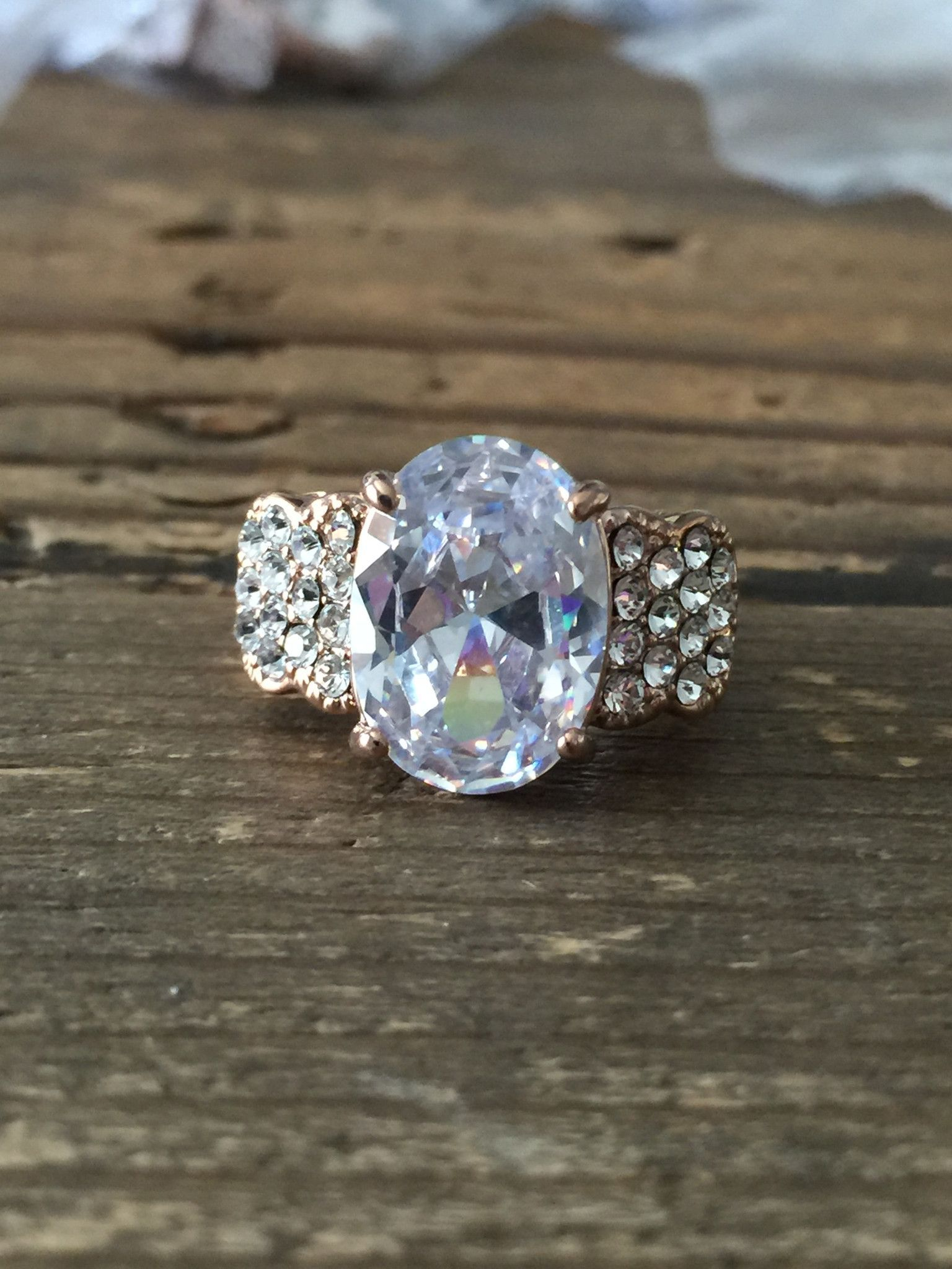 This Perfect 3ct Oval Russian Lab Diamond Rose Gold Ring Is Styled With Of Additional Accents Diamonds Are Grown By A Proprietary