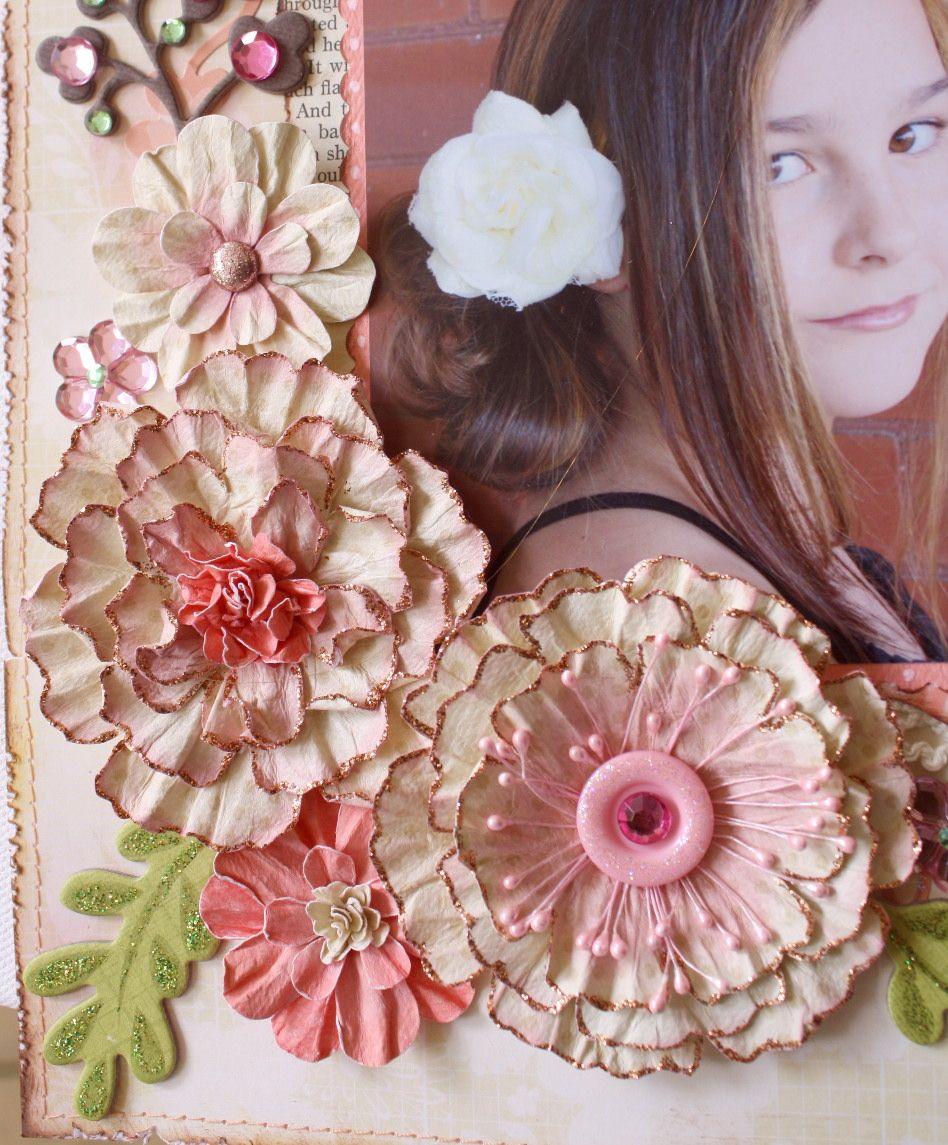 How to scrapbook flowers - Bo Bunny Water Distressed Blooms Tutorial