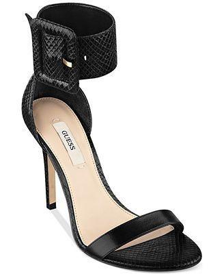 Guess Black T Strap Sandals
