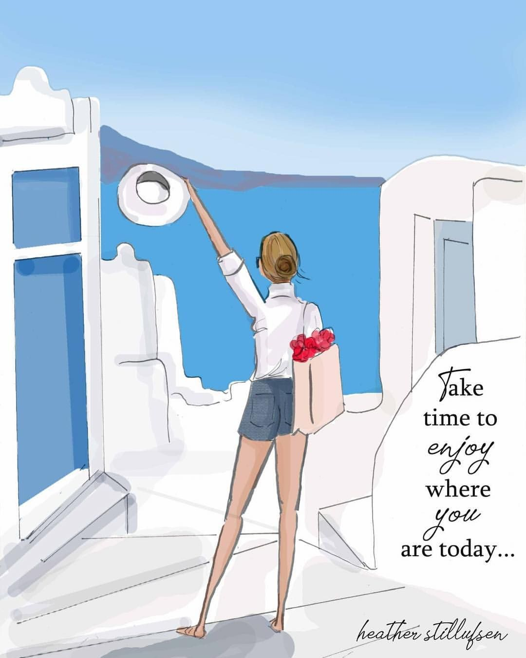 Take time to enjoy where YOU are TODAY...💙 #saturday #heatherstillufsen #heatherstillufsenart #summer #summertravels #greece