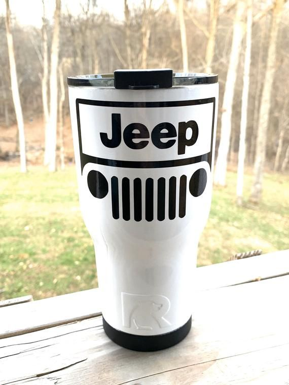 New Rtic 30oz Powder Coated Tumbler With Spill Proof Lid White With Black Jeep Decal Or Pick Your Colors Powder Coated Tumblers Jeep Decals Wrangler Accessories