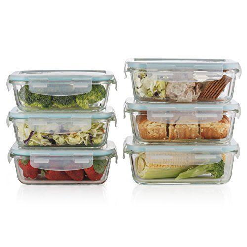 Best Kitchen Cart Prestee Premium 12pc Glass Food Storage Set 6