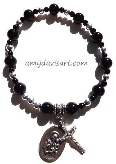 Men S Black Onyx Rosary Bracelet St Joseph By Amydavisart