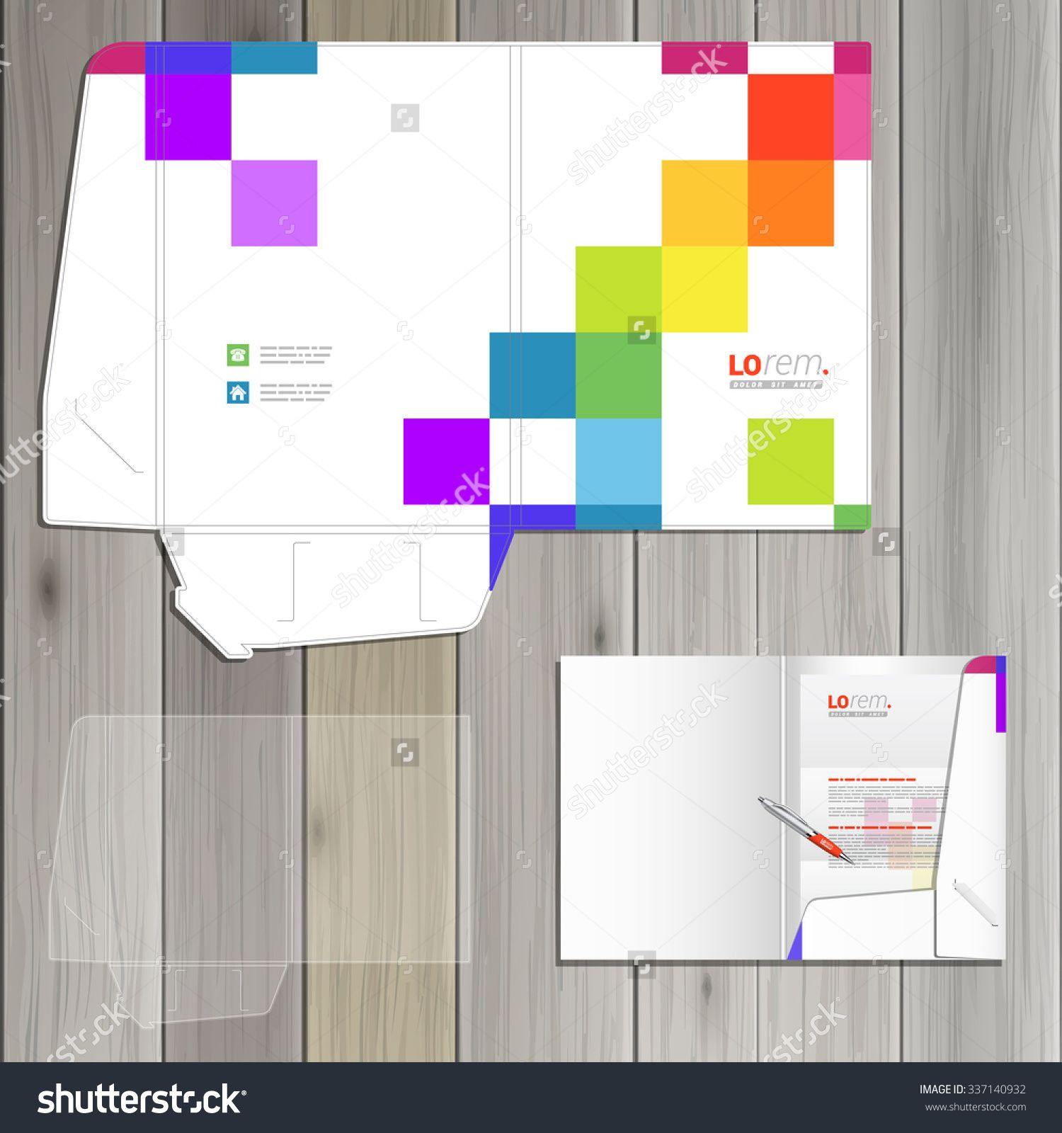White folder template design for corporate identity with color square pattern. Stationery set
