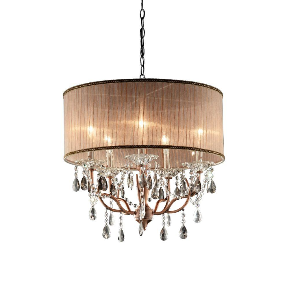 Ore International Aurora 24 5 In 6 Light Crystal And Gold Chandelier With Barocco Print Linen Shade K 5155h T Gold Ceiling Lamp Drum Chandelier Gold Ceiling