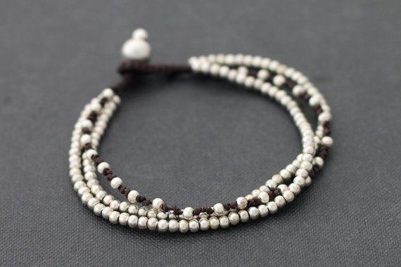 Bracciale catena argento Knot 3 Strand di XtraVirgin su Etsy,