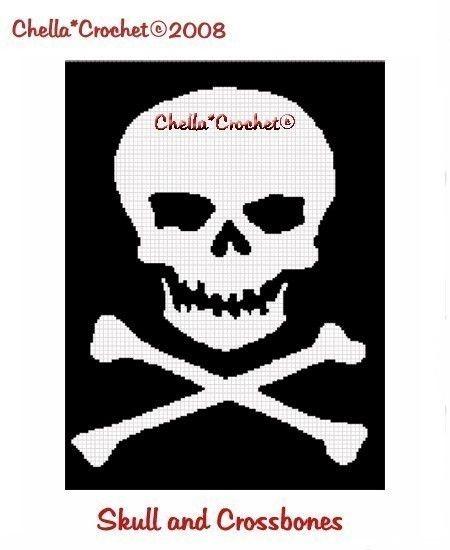 Instant Download Chella Crochet Skull Crossbones Black White Pirate