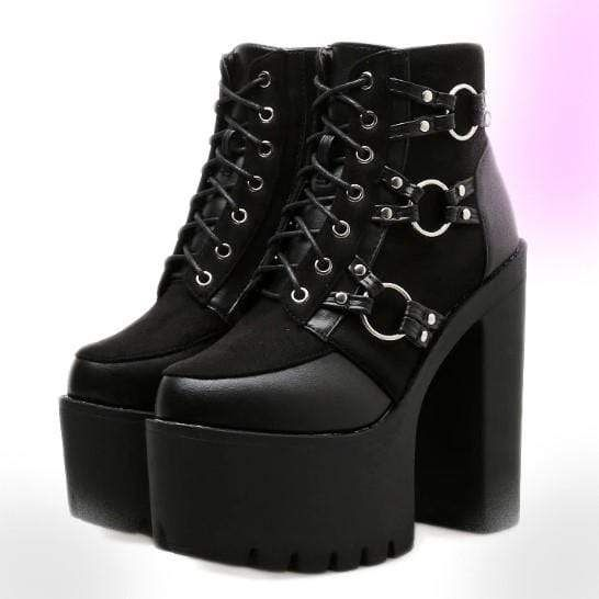 2016 Womens Chunky Heel Platform Lace Up Punk Goth Creeper