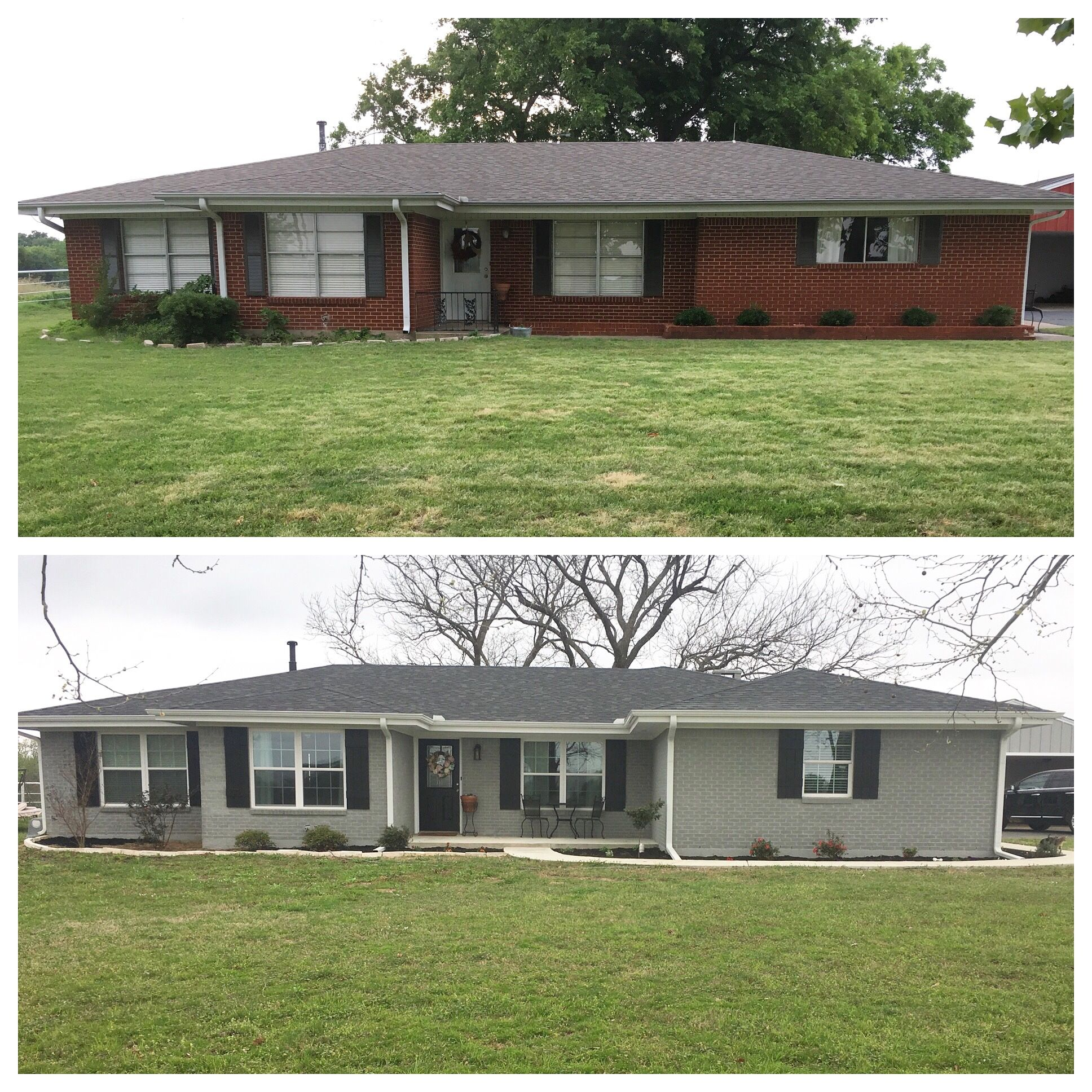 Before And After Ranch Style House Renovation Painted Brick In Sherwin Williams Ellie Gray Farm Shutters Tricorn Black
