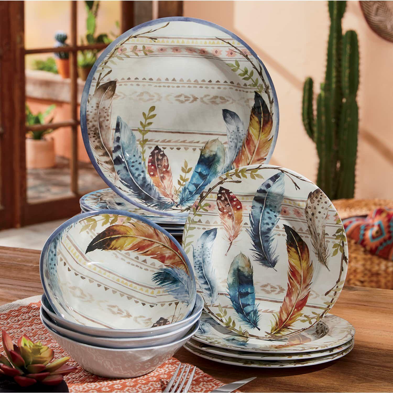 Southwestern Feather Melamine Dinnerware Set Country