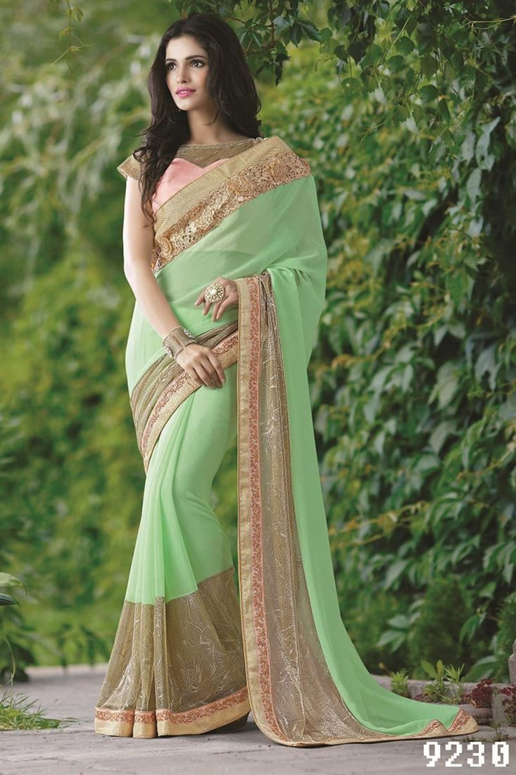 82151704588 Sea Green Color Embroidered Designer Chiffon-Lycra Saree with Raw Silk  Blouse