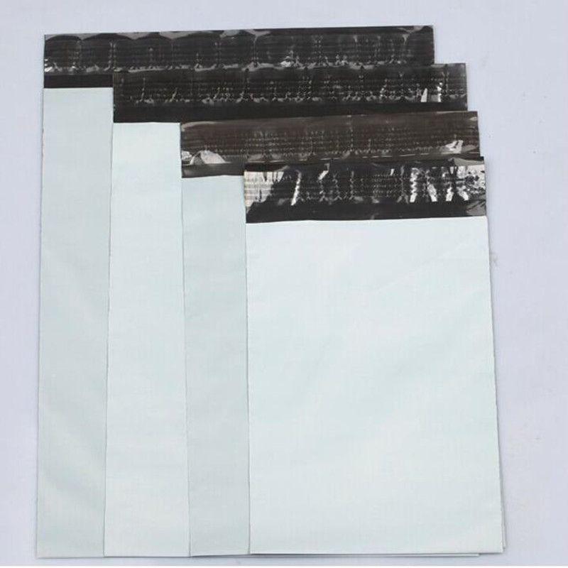 10 unids/lote Blanco Bolsa de Correo de Mensajería de Sobres Bolsa de Envío de Mensajería Bolsos de Envío del Sobre Sello Auto-Adhesivo Bolsa De Plástico