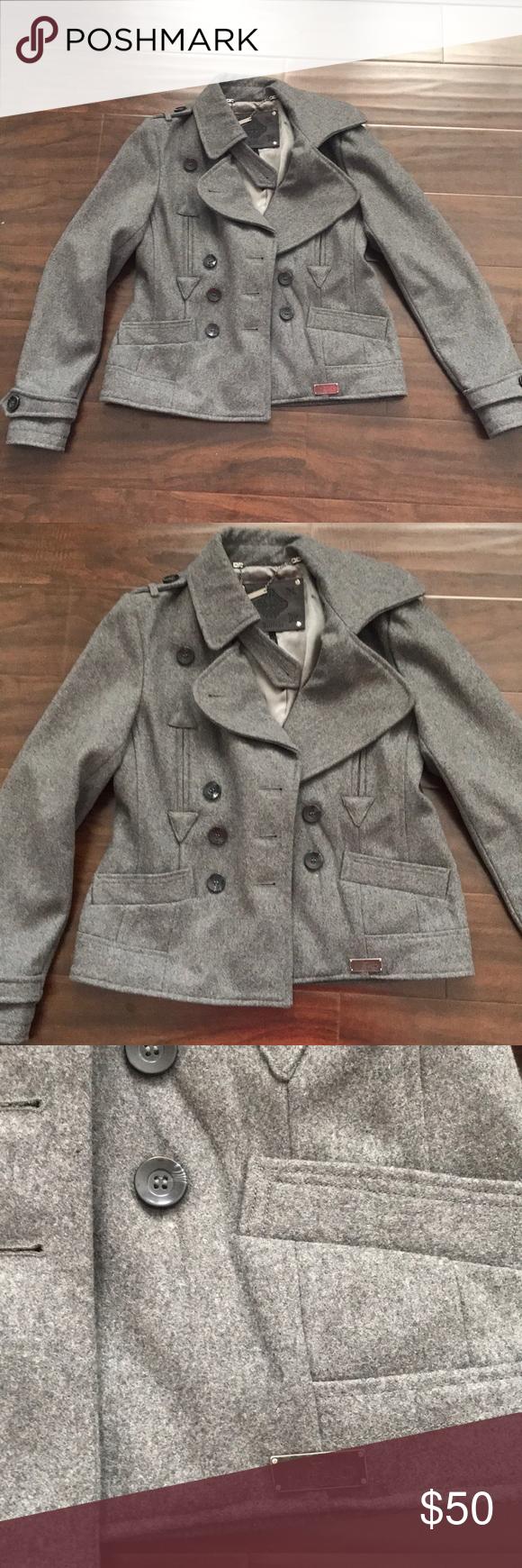 Buffalo David Bitton Grey Pea Coat Jacket Peacoat Jacket Peacoat Grey Pea Coat [ 1740 x 580 Pixel ]