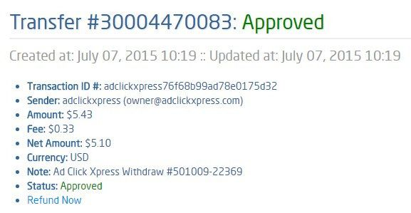"Here is my Withdrawal Proof from AdClickXpress. I get paid daily and I can withdraw daily. Online income is possible with ACX, who is definitely paying - no scam here.   From STPay member: adclickxpress (owner@adclickxpress.com) Transaction Number: 30004470083 Amount: $5.43 Currency: USD Note (if provided): Ad Click Xpress Withdraw #501009-22369 Transaction Fees: 0.33 ""http://www.adclickxpress.com/?r=zoki_mkd"" <---Join for free here"