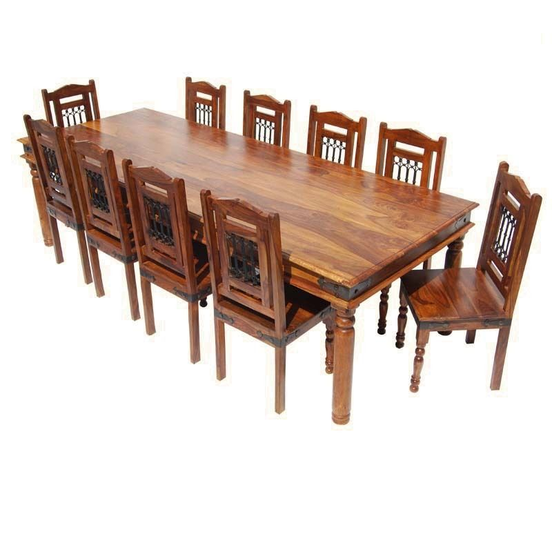 Large Rustic 11 Pc Solid Wood Dining Table Chair Set For 10 People