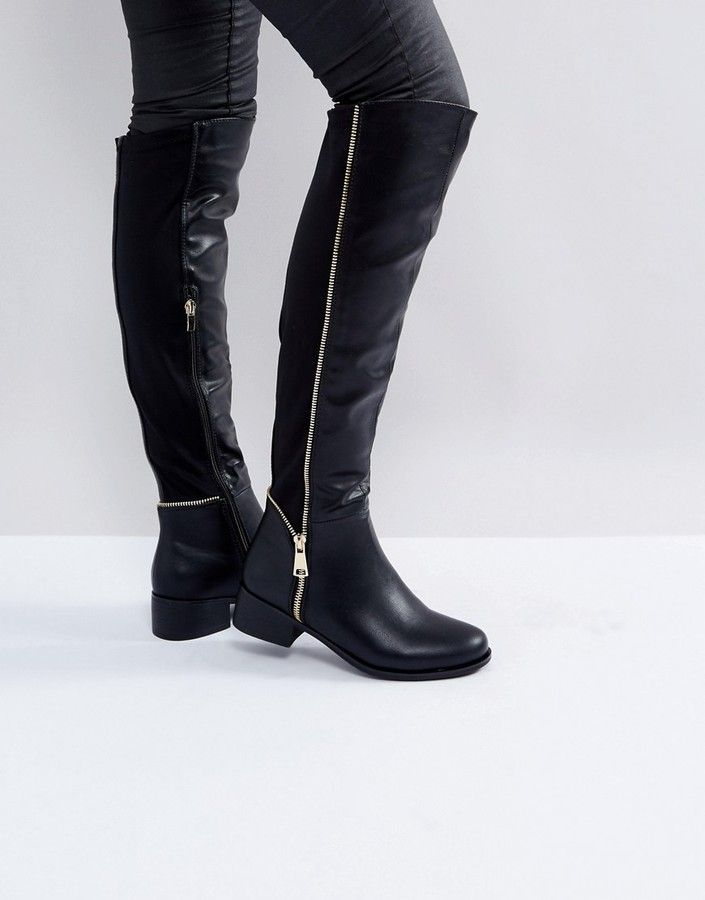 11e2c7505f2 Truffle Collection Zip Detail Elastic Flat Over Knee Boot