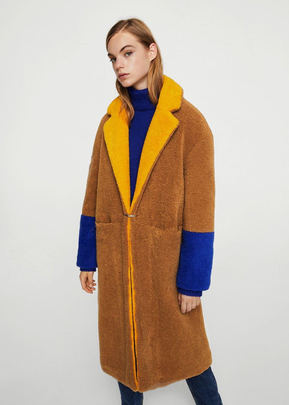 Faux Coats Fur WomanFashionMango Coat Contrast Nv0Owm8n