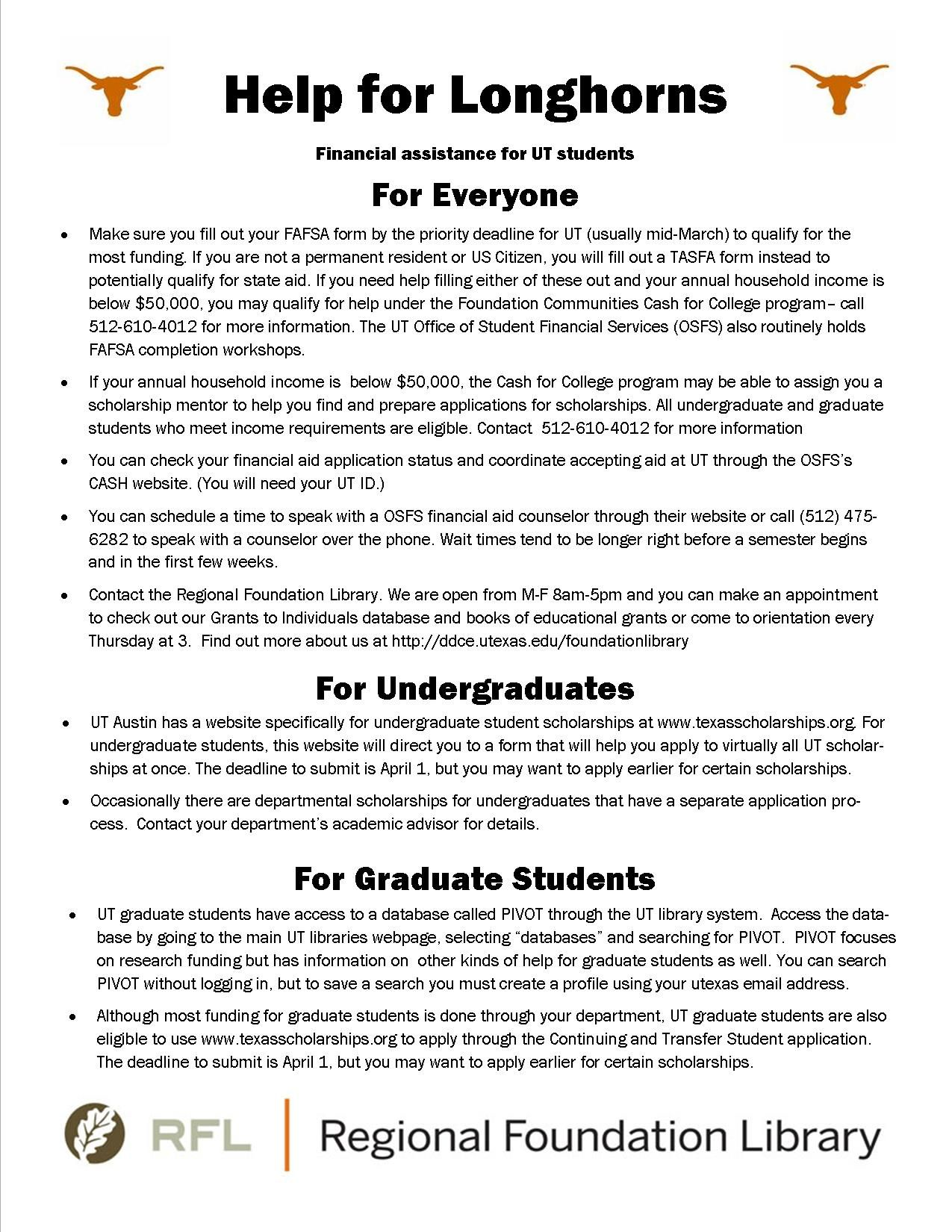 Our Flyer On Financial Aid Sources For Ut Students Ut Austin Scholarships Fellowships Finaid Student Scholarships Fafsa