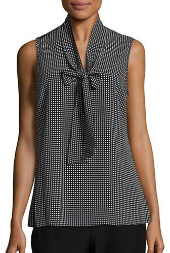 Michael Michael Kors Plus Plus Checked Tie-Accented Top