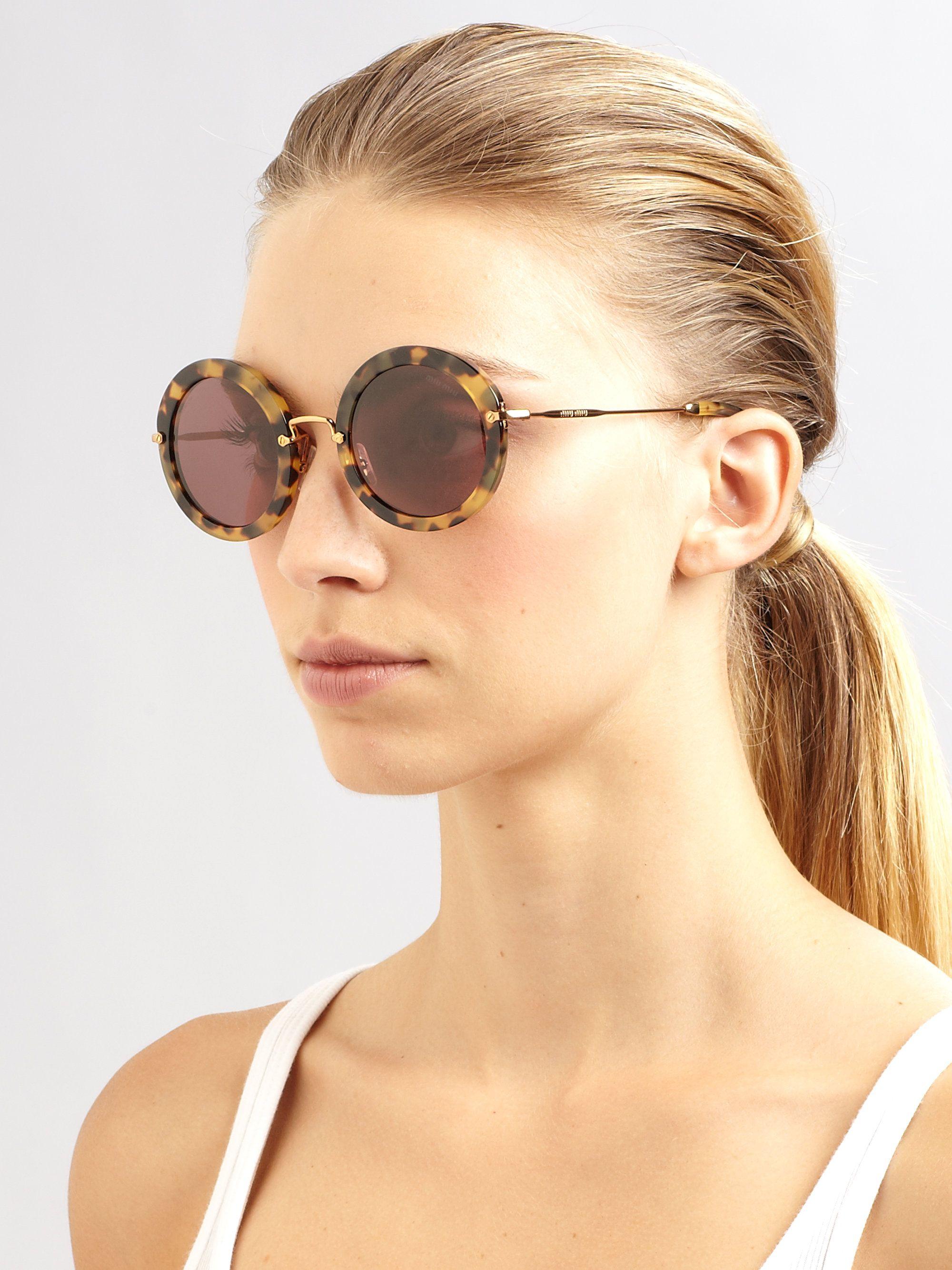41c8a7681ef0 Miu Miu Brown Retro Noir Round Acetate Sunglasses