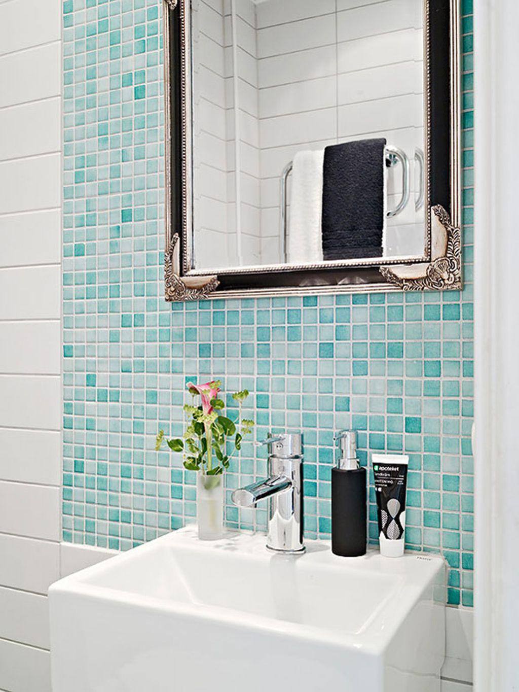 space saving bathroom designs layouts | Blue tiles, Bathroom design ...