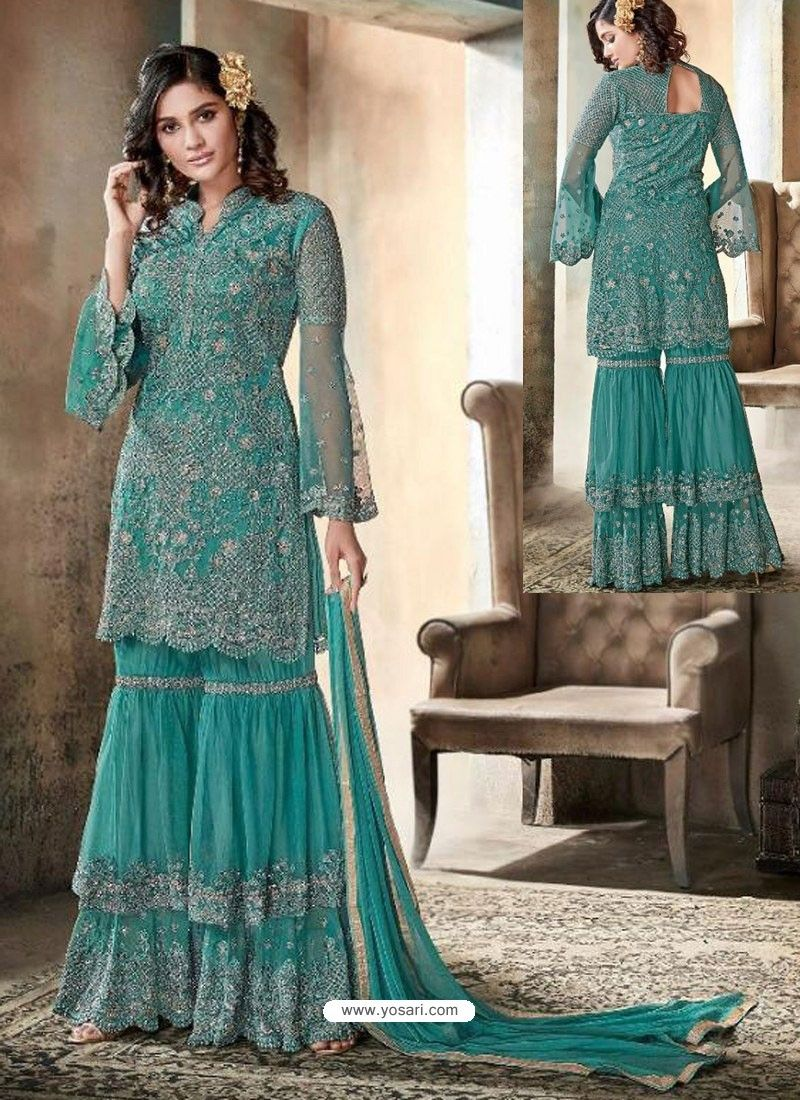fd509a889 Teal Top Net Heavy Embroidered Designer Palazzo Suit in 2019 ...