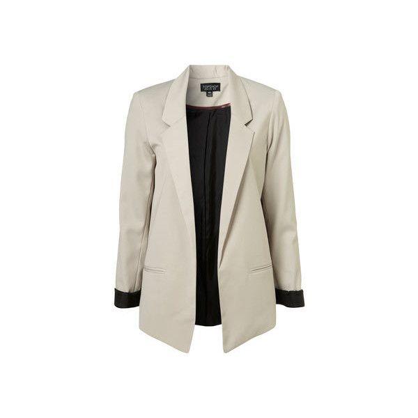 Mushroom Boyfriend Blazer ($50-100) ❤ liked on Polyvore featuring outerwear, jackets, blazers, coats, casacos, boyfriend blazer and boyfriend jacket