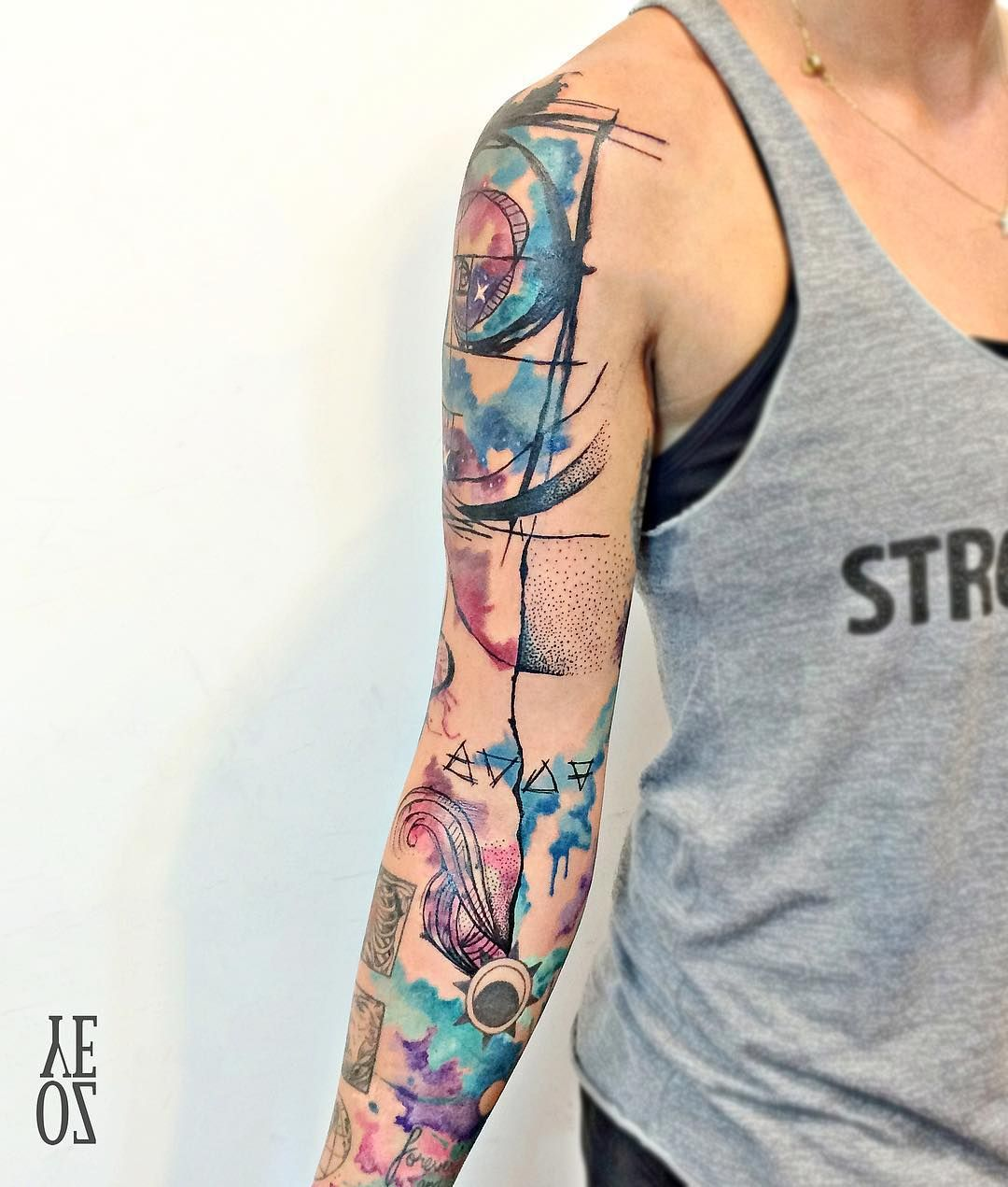 Yeliz Ozcan Watercolor Sketch Tattoo Full Sleeve Tattoos