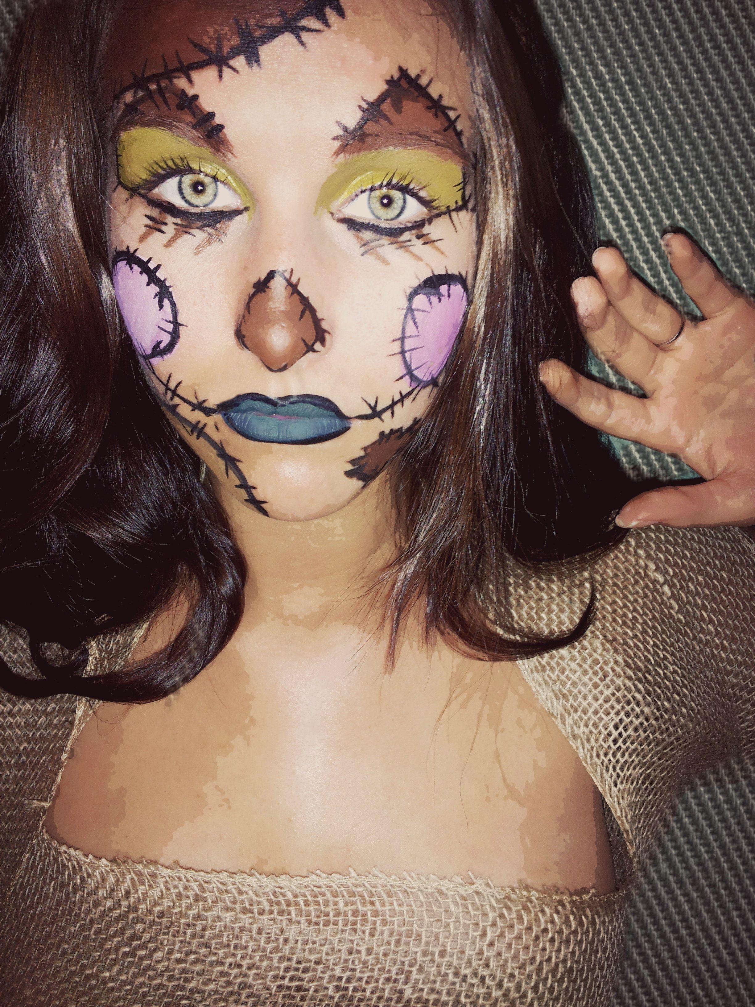 Scarecrow makeup using mehron face paint and cut up potato sacks ...