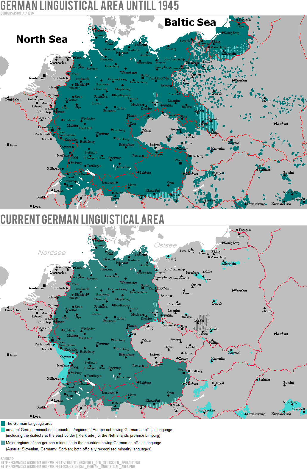 German Linguistic Area until 1945 vs. Now | History: The World Wars ...