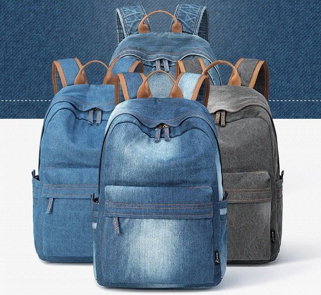 849b8f9a22 2018 New Denim Jeans Backpack Soft Outdoors Unisex School Bag Student Blue  Gray  2018NewChina  Backpack