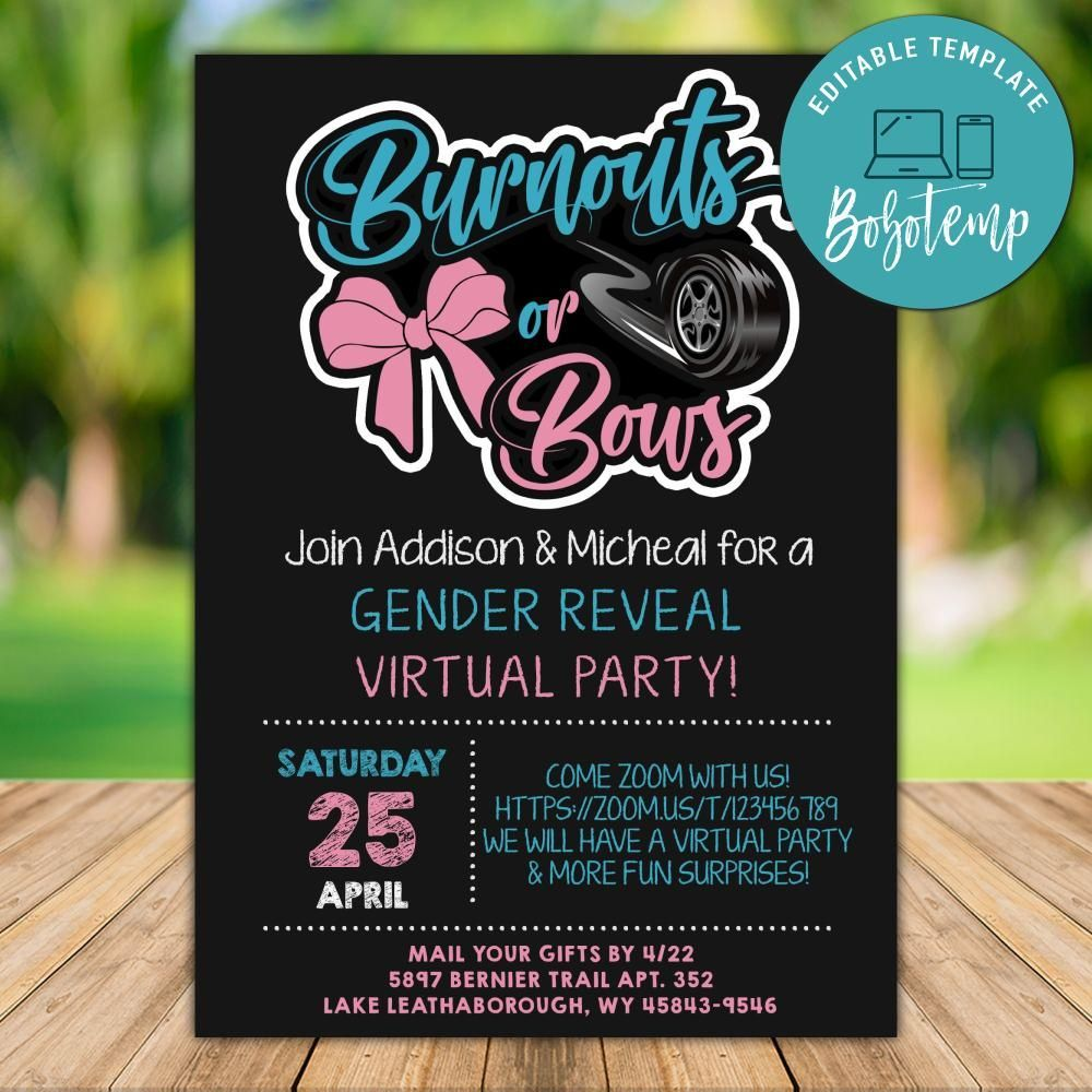 Printable Burnouts Or Bows Gender Reveal Virtual Party Invitation Instant Down Bow Gender Reveal Baby Gender Reveal Party Decorations Gender Reveal Party Games