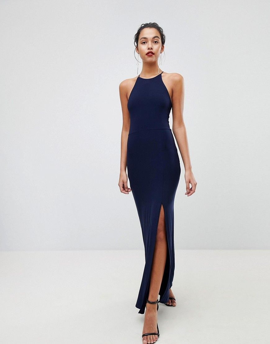 bebcba5d9cd Outrageous Fortune High Neck Maxi Dress With Thigh Split - Navy