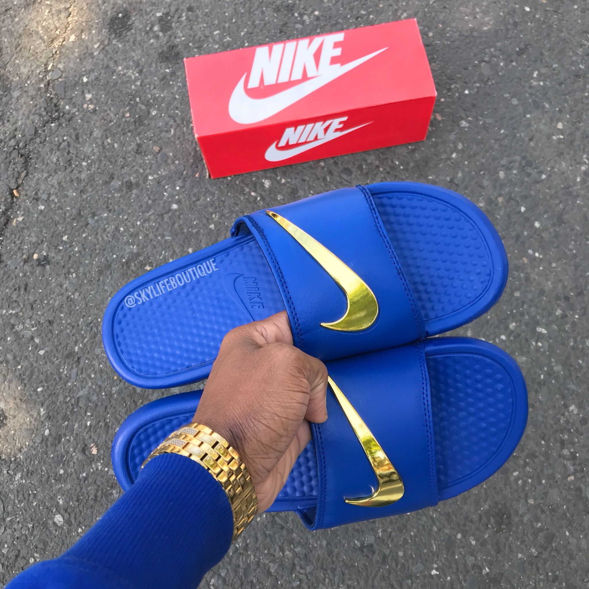 "21e4a6db61ad Nike Benassi ""Royal"" Golden Check Slides. Custom Shoes"