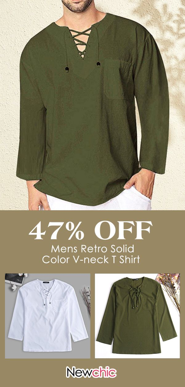 640ef67f4ab 16.69 Mens Retro Solid Color Casual T Shirt V-neck Long Sleeve Lace ...