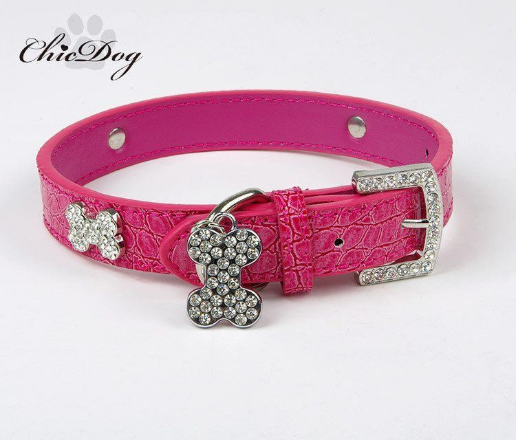 free shipping leather dog collar pet products rhinestone collar for