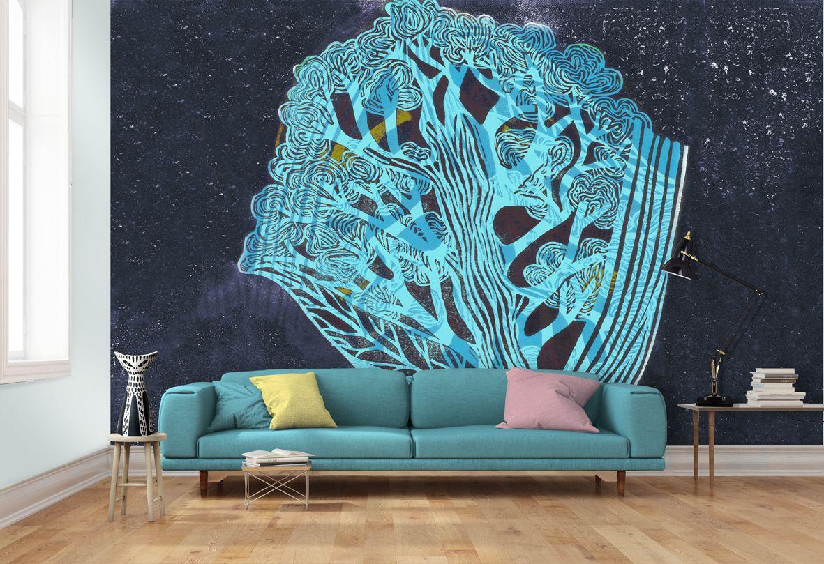 tree wallpaper mural 1960\u0027s inspired wallpaper mural large printedtree wallpaper mural 1960\u0027s inspired wallpaper mural large printed tree design in beautiful blues