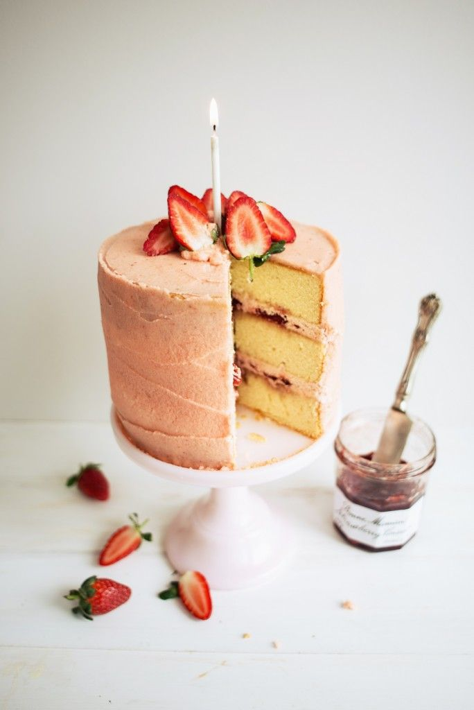 STRAWBERRY JAM VANILLA CAKE with STRAWBERRY BUTTERCREAM FROSTING