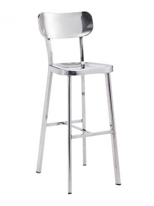 Metallic Chrome Barstool Modern Furniture Brickell Collection Modern Bar Stools Stainless Steel Bar Stools Stainless Steel Bar