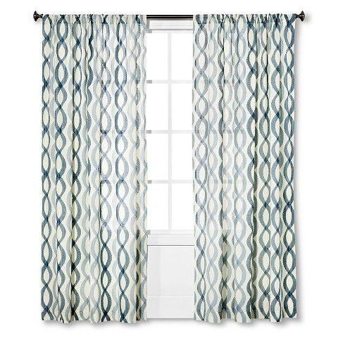 Threshold Semi Sheer Wavy Lines Curtain Panel Beige Curtains Panel Curtains Lined Curtains