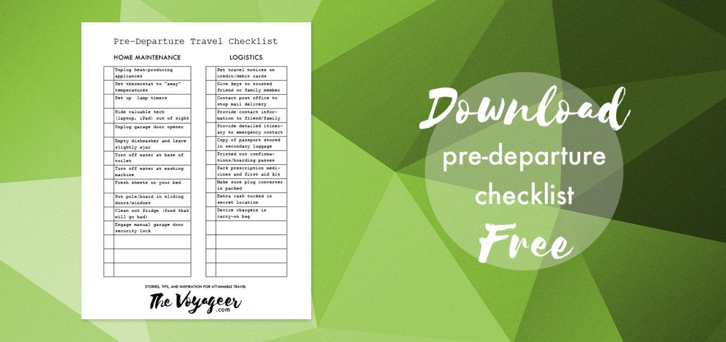 Downloadable predeparture checklist with images