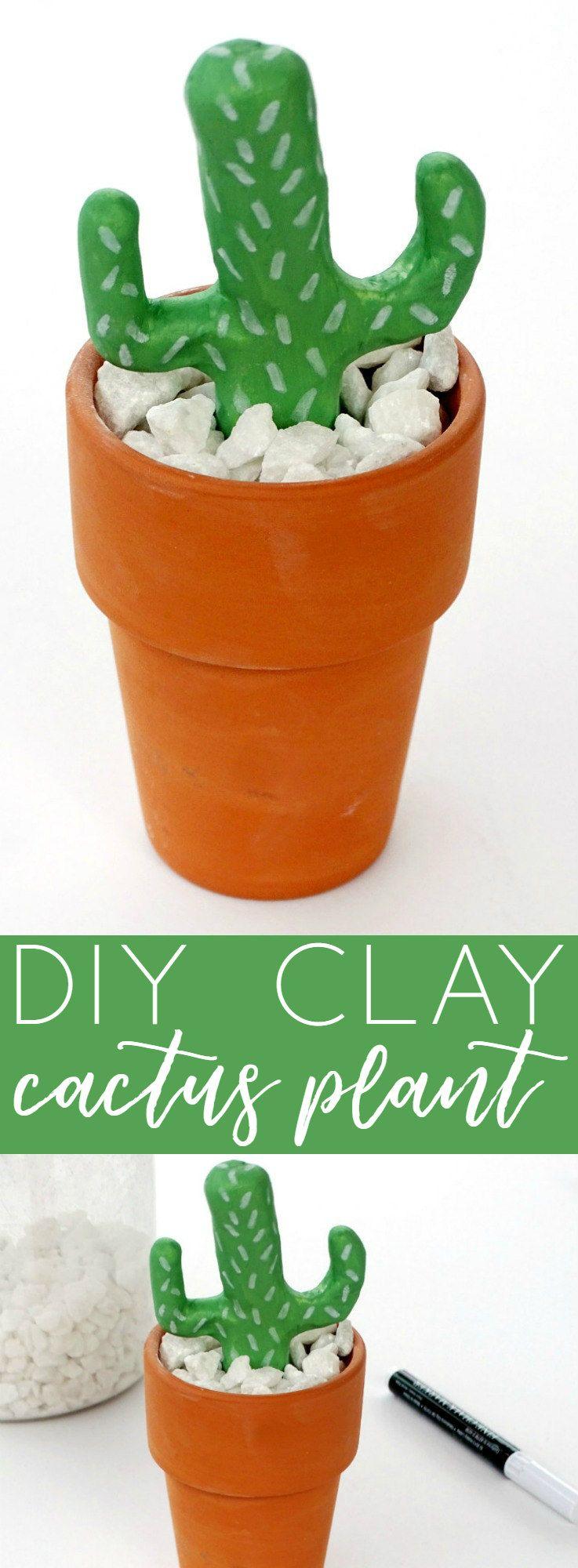 DIY Clay Cactus Plant Diy clay, Easy crafts, Easy craft