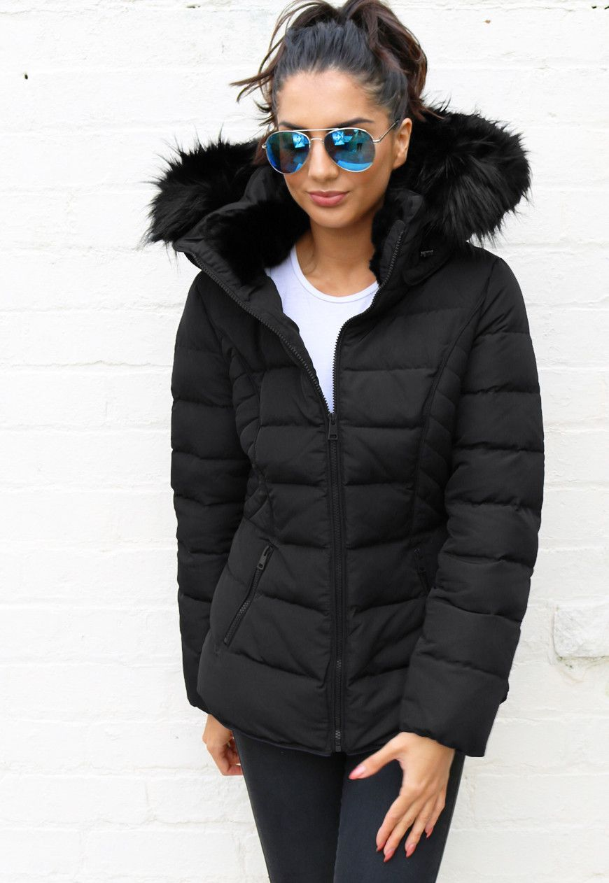Quilted Padded Short Hooded Puffer Anorak Coat with Fur Trim in ... : short quilted jacket with hood - Adamdwight.com