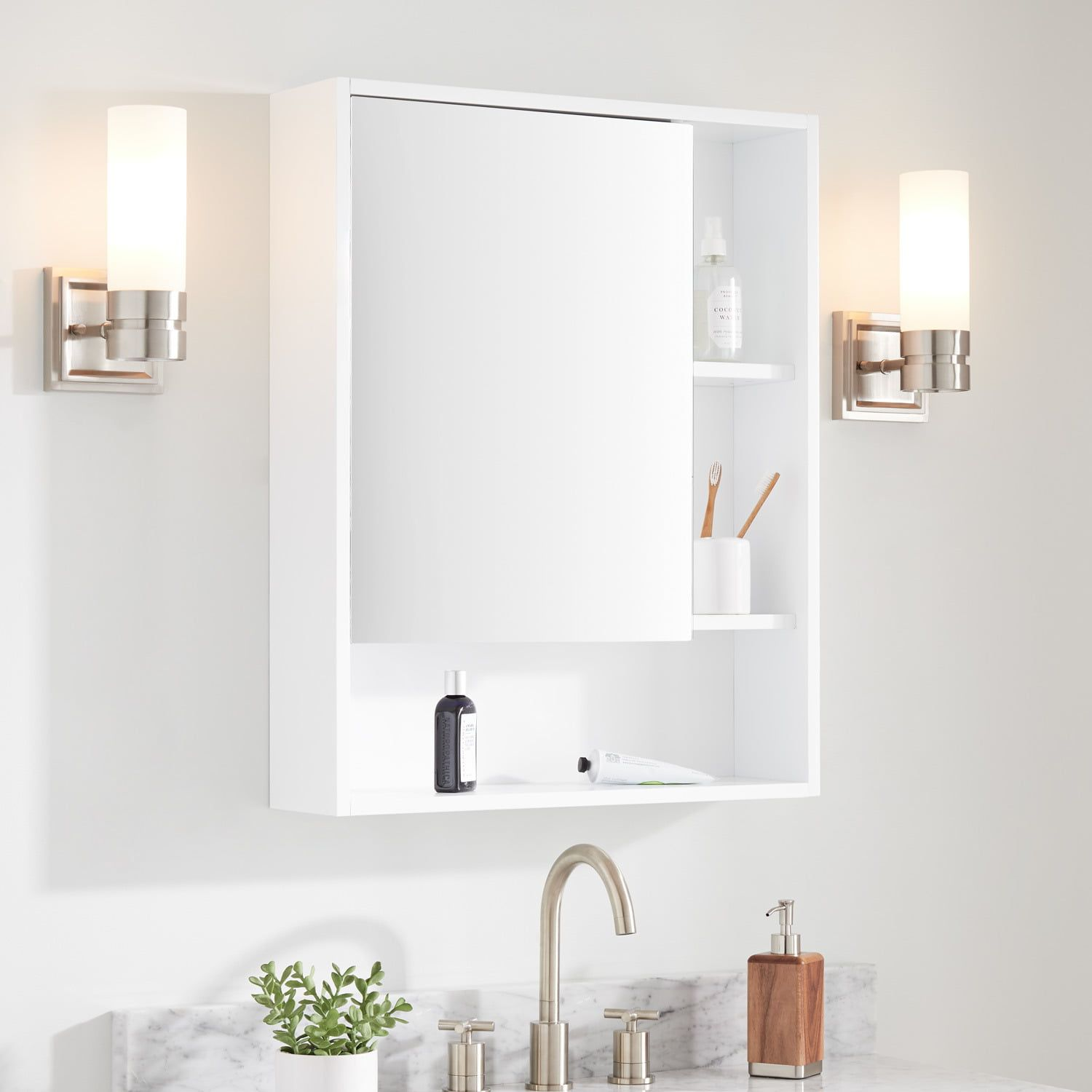 Featuring A Bright White Finish The Teague Medicine Cabinet Is A Lovely Addition T Small White Bathroom Cabinet White Medicine Cabinet White Bathroom Cabinets