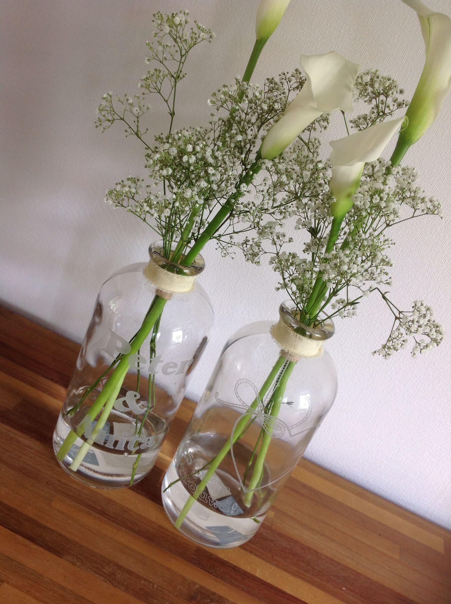 glazen vaas gegraveerd 25 jarige bruiloft glazen