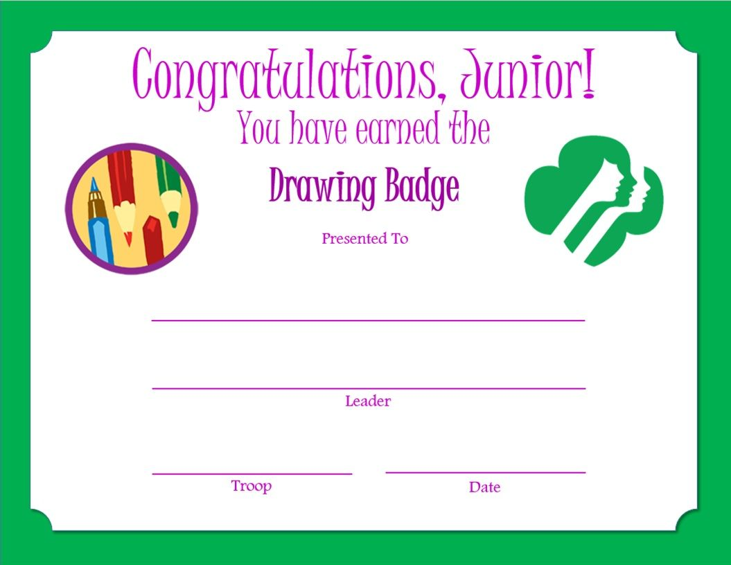 Junior Drawing Badge Certificate | Girl Scout Troop Leader Ideas ...