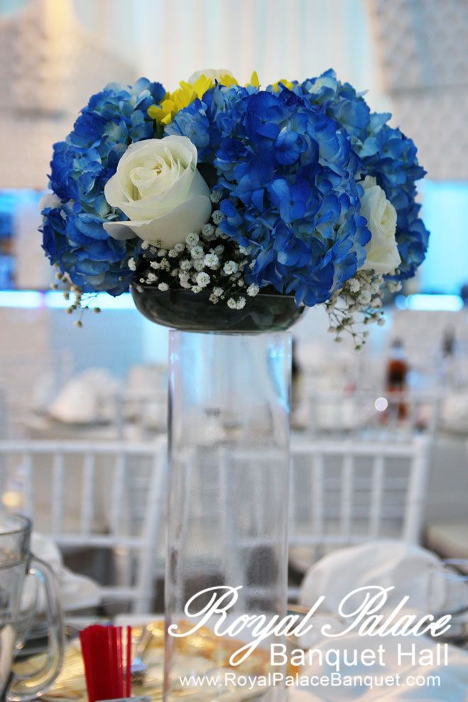 Blue And White Birthday Centerpiece At Royal Palace Banquet Glendale Ca
